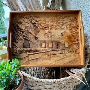 Vintage Etched a Wood Tray